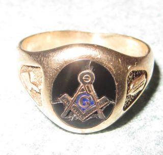 Vintage Mens Masonic 14K Ring Freemason Fraternal Organization Square