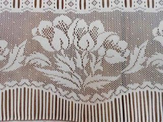 floral net motif french window treatment panel Lace curtain drape