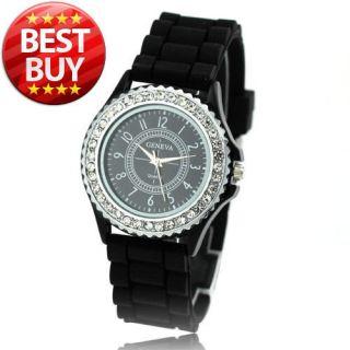 CRYSTAL LIGHT Lady Women Girl Wrist Watch Gel Silicone Clock Black