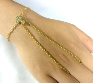 Crystal Small Cross Charm Hand or Foot Harness, Ankle Bracelet , Slave