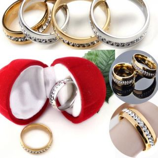 stylish silver Gold stainless steel Clear Crystal rhinestone Rings