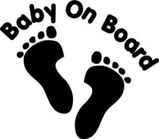 BABY ON BOARD FOOTPRINT CAR DECAL STICKER