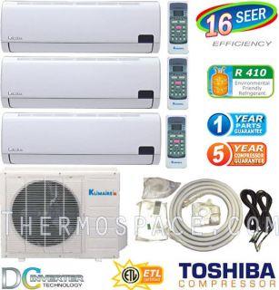 TON Tri Zone Ductless Mini Split Air Conditioner, 30000 BTU: 12000
