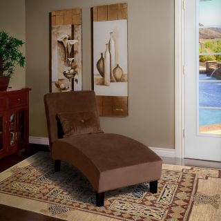 Curved Chaise Lounge Chair in Soft Brown Microfiber