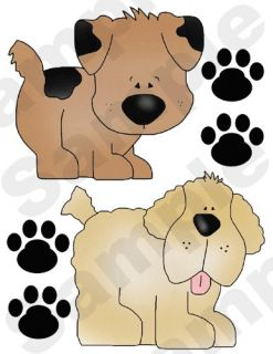 PUPPIES PUPPY DOGS PAW PRINTS BABY NURSERY CHILDRENS WALL ART STICKERS