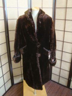 91216 Swing Long Brown Mouton Fur Woman's Coat Jacket