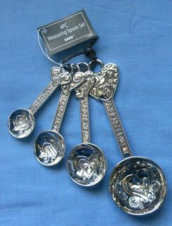 Hearts design Heavy Metal Measuring Spoon Set Ganz NEW )