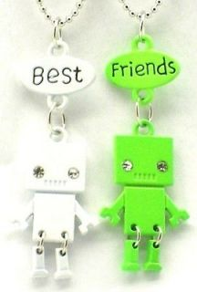 Friend Robot Charm 2 Pendant 2 Necklace Green White Friendship BFF
