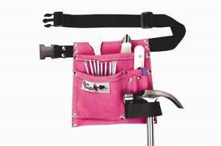 Pocket Suede Leather Womens Pink Tool Pouch Belt