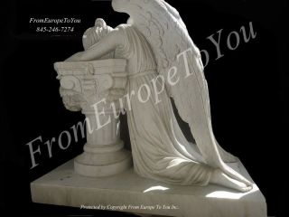 NICE WEEPING HAND CARVED MARBLE LAYING ANGEL STATUE