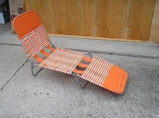 Vtg Aluminum Folding CHAISE LOUNGE Chair Yard Furniture Orange & White