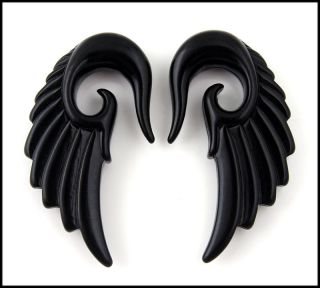 Black Acrylic Angel Wing Design Ear Taper Plugs Gauges (PICK SIZE