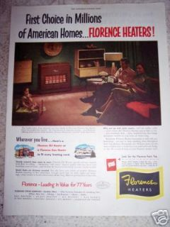 1951 FLORENCE Stove Co. HEATERS Gas or Oil Original Ad