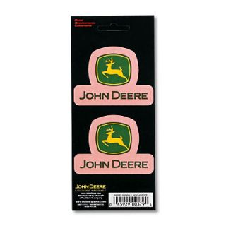 JOHN DEERE STACKED LOGO DECAL PINK STICKERS, 2 PER SET