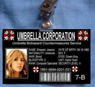 Resident Evil ID Card Umbrella Corp Albert Wesker Props
