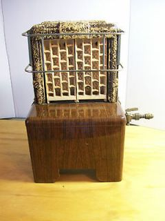 VINTAGE ANTIQUE BROWN PORCELAIN ENAMEL CLAY BACK GAS SPACE ROOM HEATER