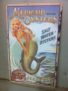 Vintage style mermaid tin sign wall decoration