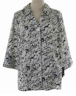Alfani Womens Black White Khaki Animal Wild Button Down Shirt Blouse