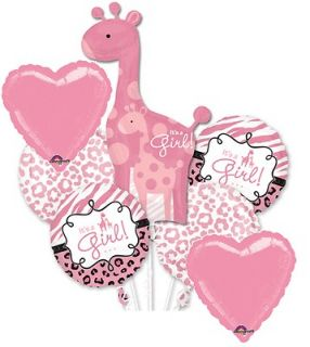 SWEET SAFARI GIRAFFE GIRL BABY SHOWER BALLOONS DECORATION SUPPLIES