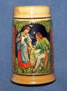 VINTAGE SMALL CERAMIC GERMAN BEER STEIN ( # 5 ) 4 1/2 TALL   1960