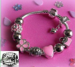 girls kids childrens pink charm bracelet gift box option
