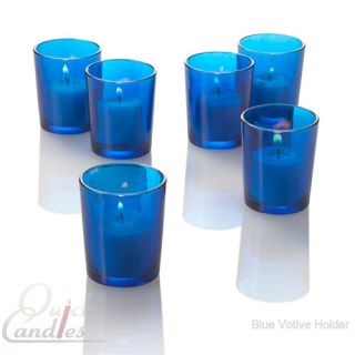 Lot of 12 Blue Glass Votive Candle Holders