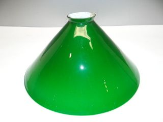 Vintage Used Old Green Glass Cone Shaped Industrial Banker Lamp Shade