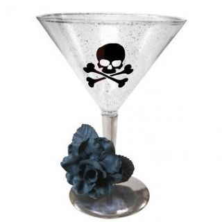 Party Sparkle Pirate Skull & Crossbone Plastic Cocktail Glass 430009