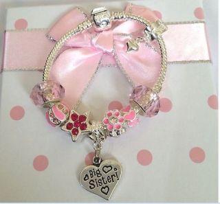 girls kids childrens sparkly pink charm bracelet in gift box