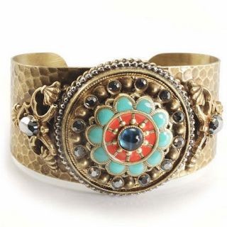 BY SWEET ROMANCE Coral W Turquoise & Vntg Glass Bronze Cuff Bracelet