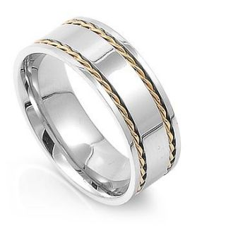 Mens Silver & Gold Rope Design Stainless Ring, Sizes 8   13