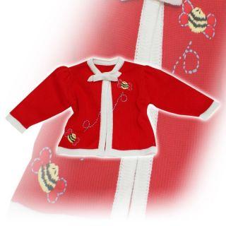 Red knitted cardigan for christening/baptism. Flower girl/ gift