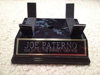 JOE PATERNO PENN STATE 409 WINS AUTOGRAPHED FOOTBALL DISPLAY BASE CASE