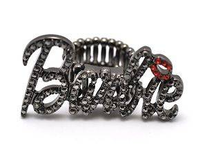 NICKI MINAJ BARBIE RING Iced Out Black Hematite