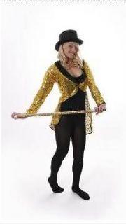 WOMEN & MENS GOLD SEQUIN TAILCOAT FANCY DRESS COSTUME TAIL COAT