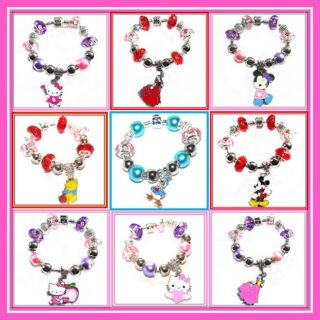 Kids Silver/Pl FINISHED CHARM BEAD BRACELETS Hello Kitty / Disney