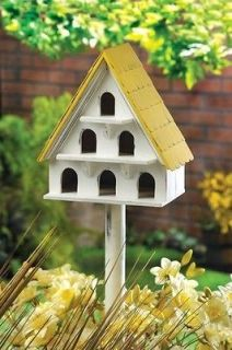 MULTI LEVEL WOODEN BIRDHOUSE CONDO Shabby Yard Garden Bird House NEW