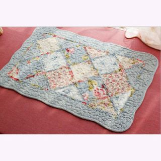Shabby And Vintage Style Blue Flowers Quilted Bath Rug Mat