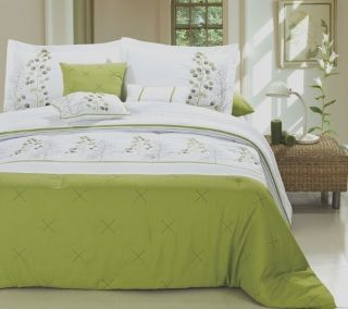Palemo Lime Green/White Embroidered Comforter & 600TC Sheet Set Queen