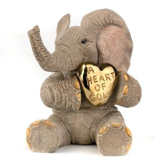 Tuskers Elephant Figurine Love is…A Heart of Gold NEW