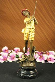 Gold Patina Boy Fishing W/ Duck Bronze Sculpture Milo Statue Art