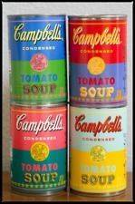 ANDY WARHOL LIMITED SPECIAL EDITION OF 4 CAMPBELLS TOMATO SOUP CANS