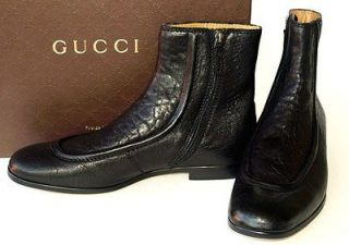 GUCCI New Mens Black Leather Shoes Boots sz 9.5   10.5 Authentic Made