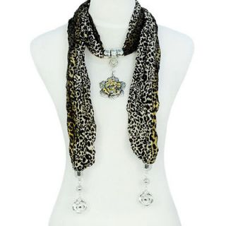 Women Leopard Scarf with Alloy Flower Charm Pendant Jewelry, NL 1589