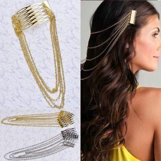 Women Long Silver Gold Tassel Hair Accessory Tuck Comb Hairpin Clip