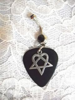 REAL BLACK GUITAR PICK w HIM HEARTAGRAM CHARM ON BLACK CZ BELLY BUTTON