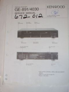 Kenwood Service Manual~GE 891/​4030 Graphic Equalizer