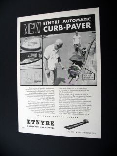 Etnyre Automatic Curb Paver machine 1956 print Ad