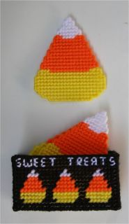 Halloween Candy Corn Coasters Plast​ic Canvas Pattern
