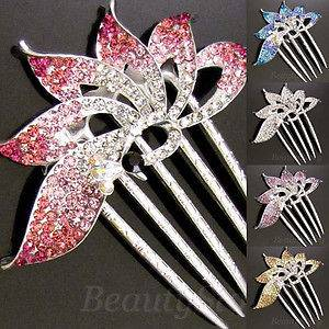 Item  rhinestone crystal Peacock French twist hair comb